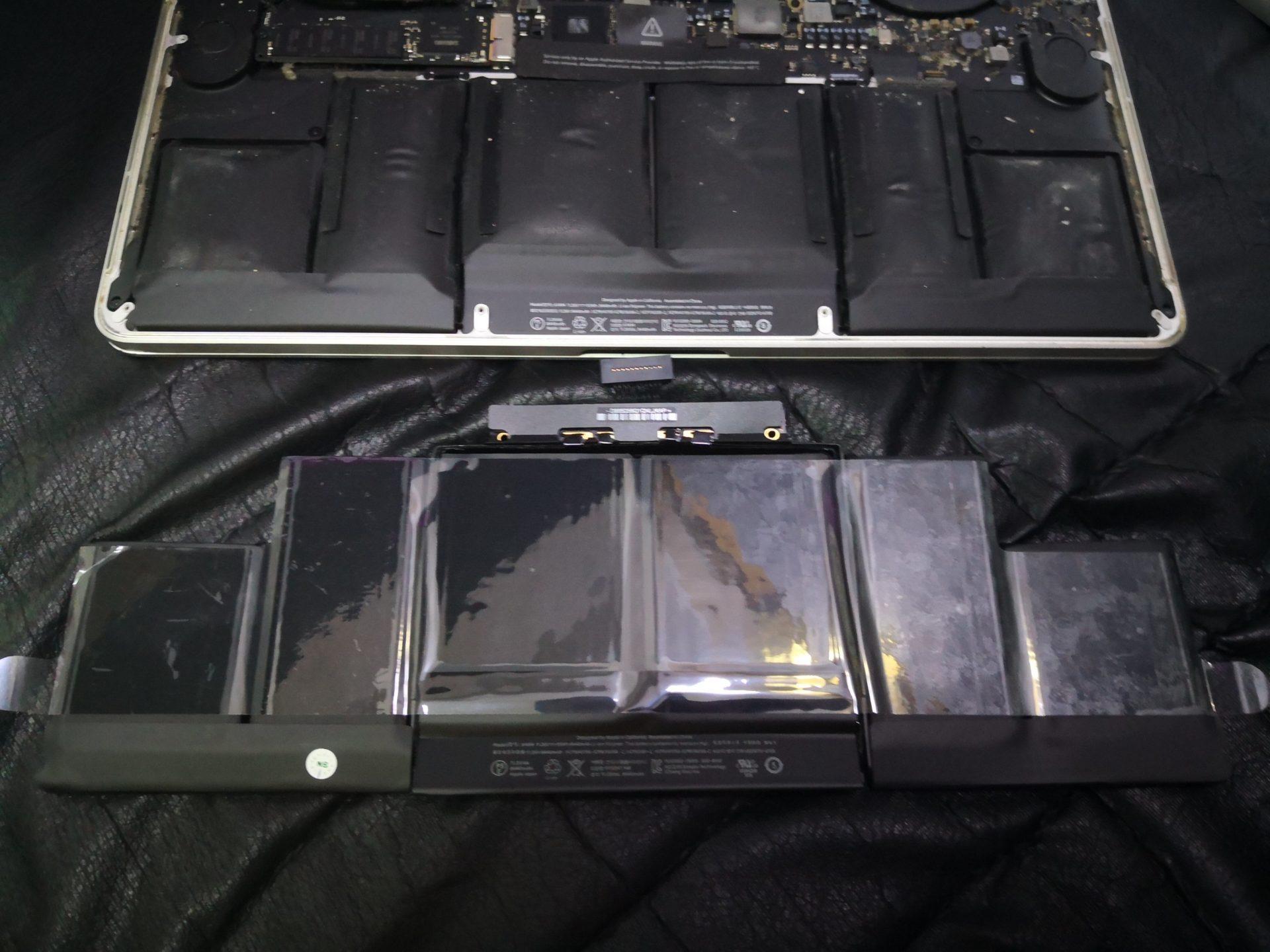 MacBook Pro 15 Retina и аккумулятор A1494, который вздулся. Замена на новый