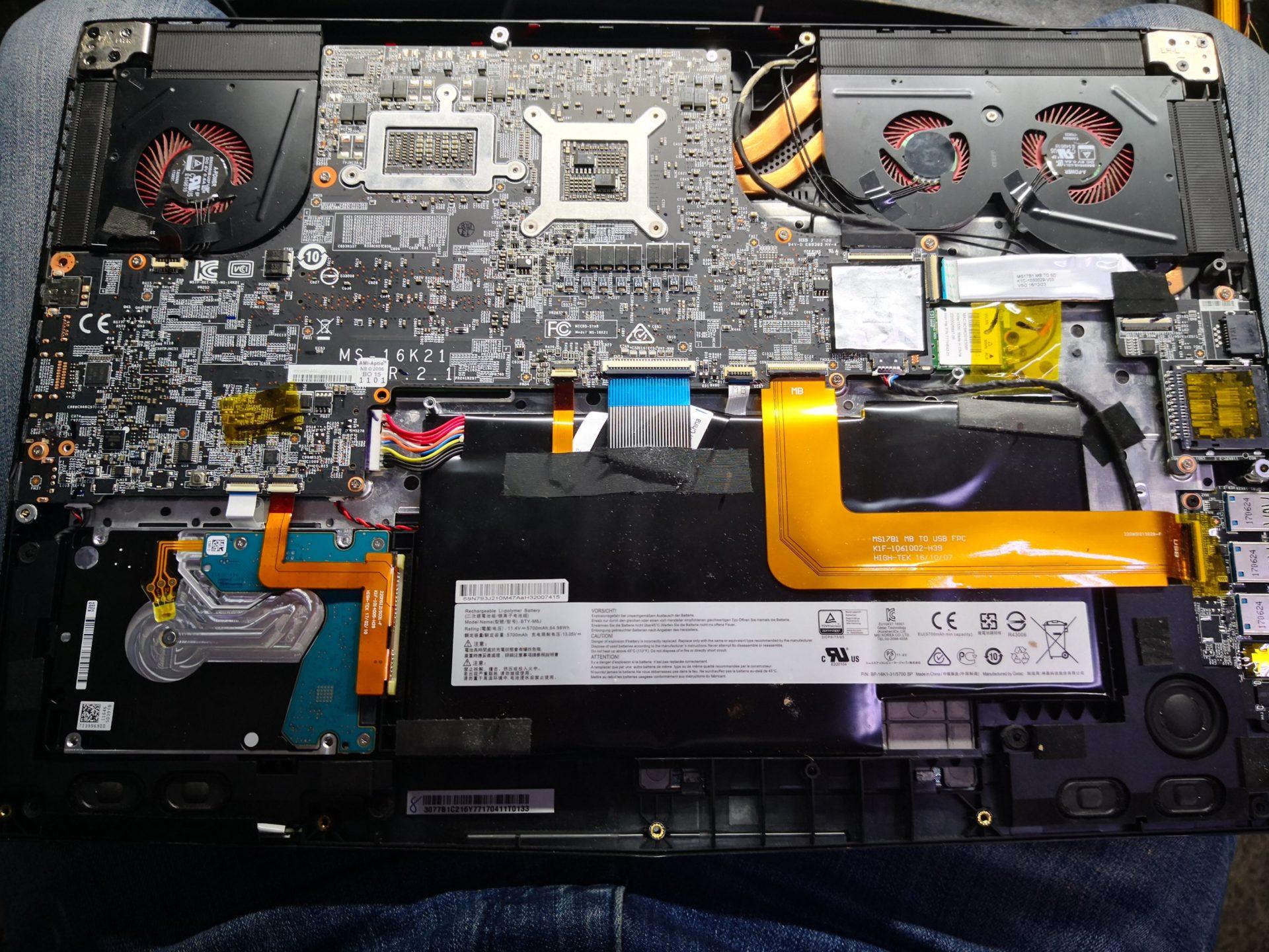 MSI GS73VR 6RF Stealth Pro и замена кулера